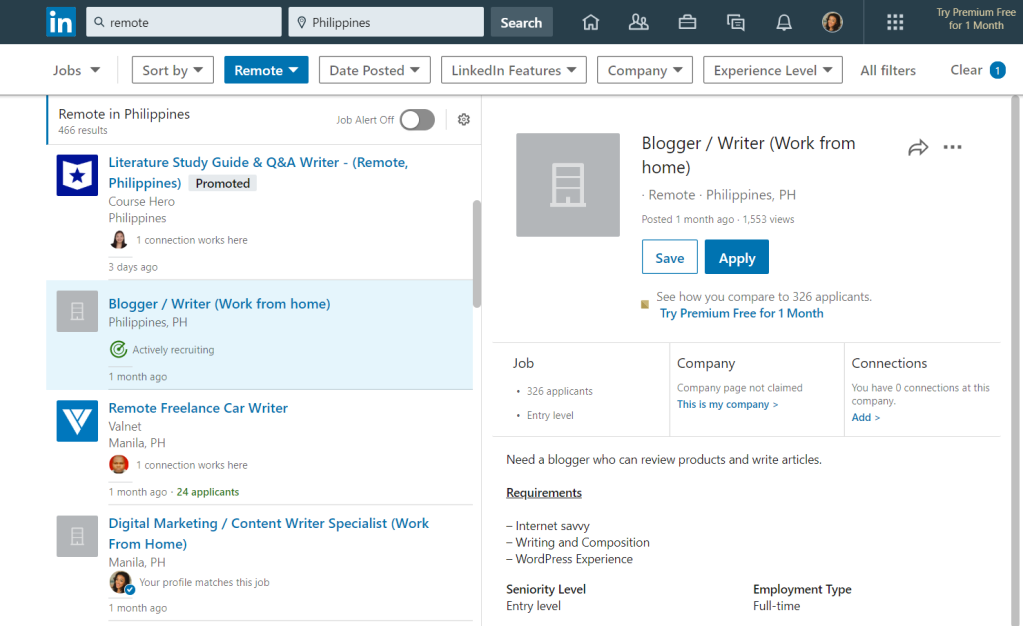 Remote jobs on LinkedIn